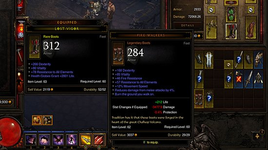 Diablo item comparison