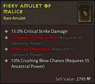 affixes rare amulet