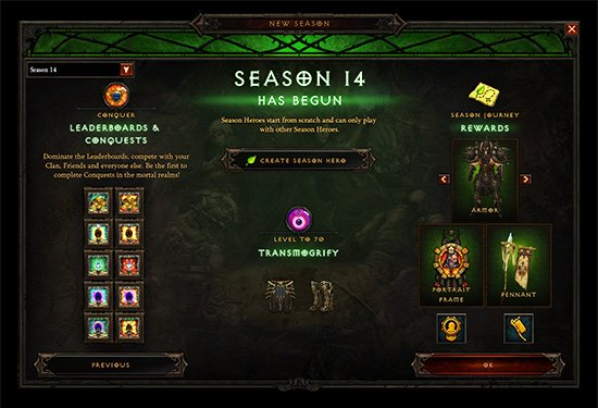 Season 14 main screen
