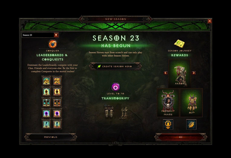 Diablo Season 23 - Leaderboards and Conquests